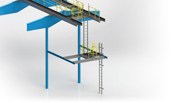 Engineered Aluminum Catwalk System with ladders and Landing