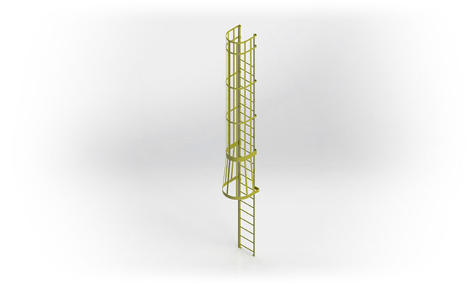 Fixed Industrial Steel Pass Through Ladder with Cage